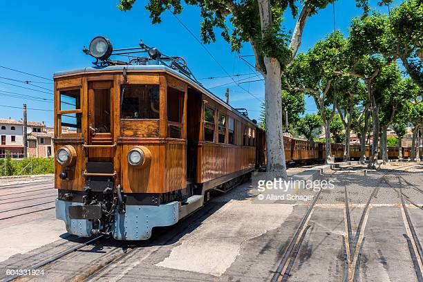 train on station in soller mallorca - palma majorca stock photos and pictures