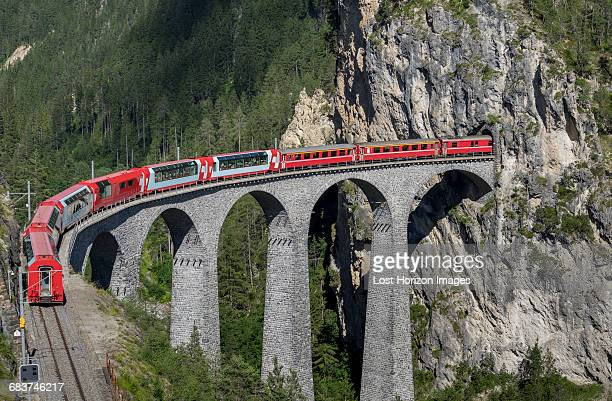 train on the landwasser viaduct, filisur, splugen, canton graubunden, switzerland - international landmark stock pictures, royalty-free photos & images