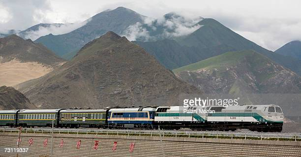 Train on the Qinghai -Tibet railway leaves Lhasa headed for Beijing on July 5, 2006 in Lhasa, China. On July 2nd 2006 the first train from Beijing to...