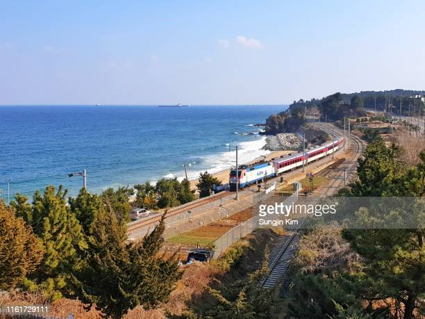 train on the railroad by the coast - gangwon province stock pictures, royalty-free photos & images
