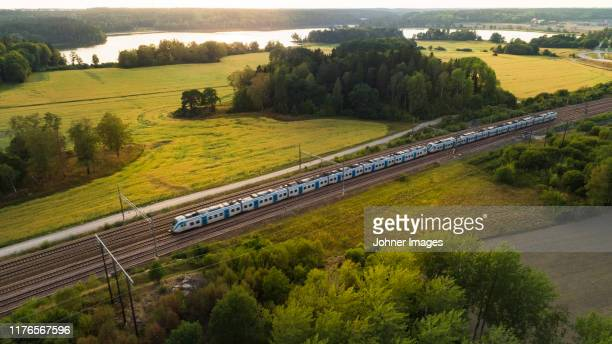 train on tracks, aerial view - trein stockfoto's en -beelden