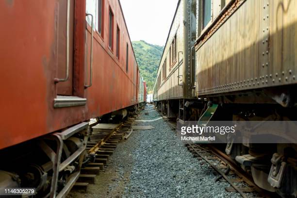 train passenger cars - shunting yard stock photos and pictures