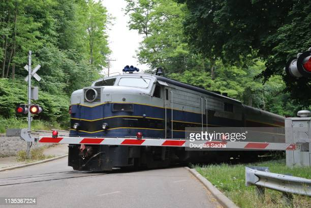 train passes a road while the crossing barrier block vehicle crossing traffic - railroad crossing stock pictures, royalty-free photos & images
