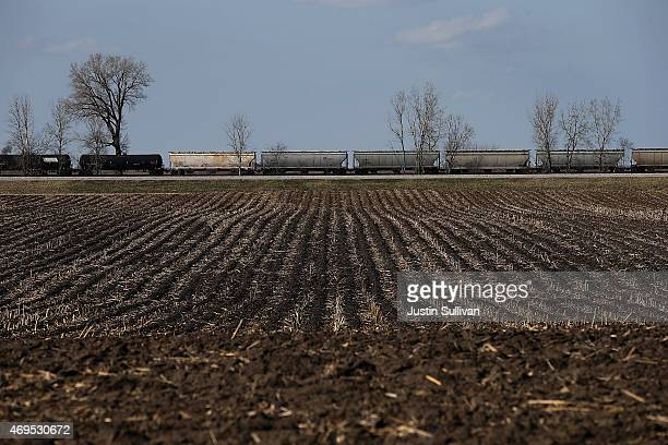 Train passes by a empty corn field on April 12, 2015 in Ames, Iowa. Iowa is the first state in the nation to hold an electoral event in the...
