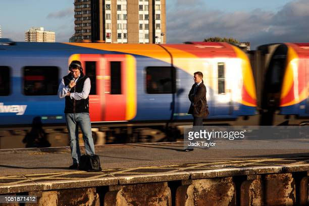 A train passes through Clapham Junction Station during the morning rush hour on October 11 2018 in London England The Office of Road and Rail...