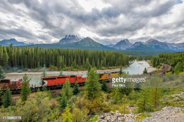 train passing famous morant's curve ,banff national park, canada - traditionally canadian stock pictures, royalty-free photos & images