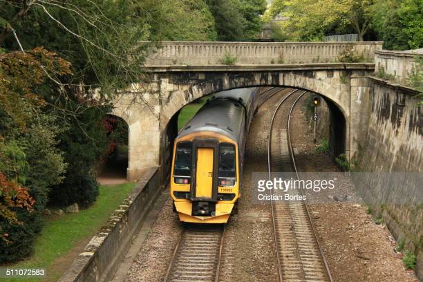 Train passing near Bath town