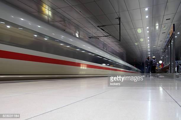 ICE train passing through station in Frankfurt