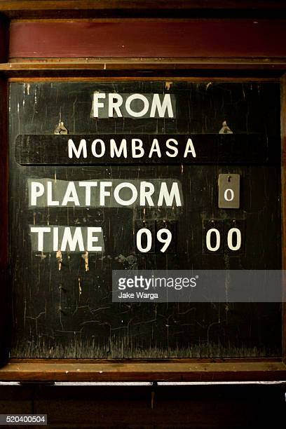 train platform boarding information from mombasa - mombasa stock pictures, royalty-free photos & images