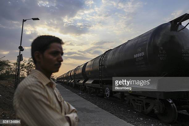 A train pulling water tankers departs from Latur railway station in Latur Maharashtra India on Saturday April 16 2016 Hundreds of millions of people...