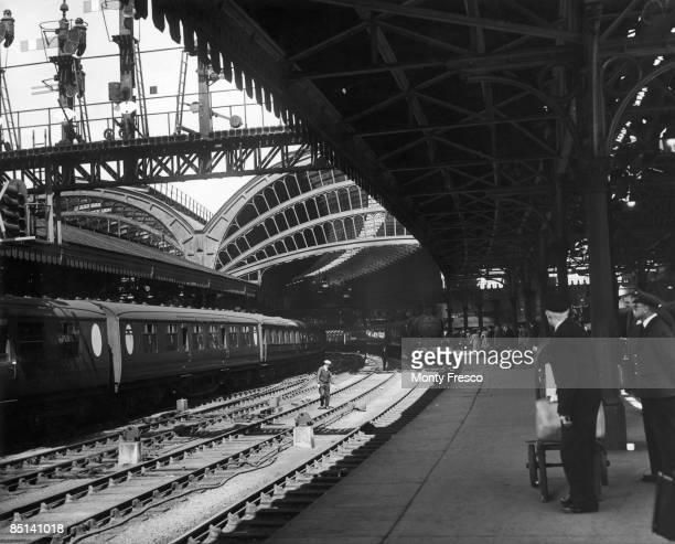 A train pulls into York railway station Yorkshire 29th July 1949