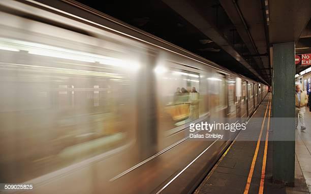 Train races through the NYC subway, USA