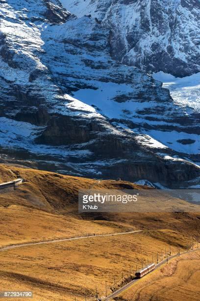 train railway on high Alps mountain to Jungfrau, top of Europe, at Kleine Scheidegg, Switzerland