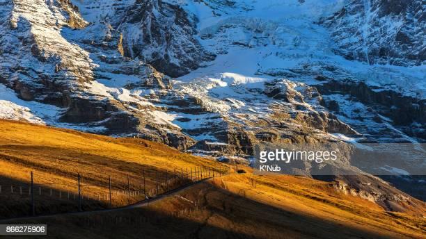 train railway on high Alps mountain to Jungfrau, top of eurpe, in Switzerland