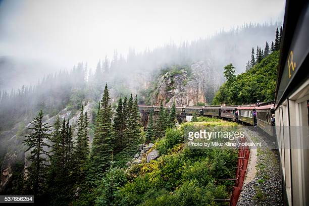 Train rounding the bend on a mountainside