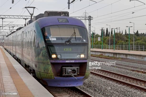 Train Siemens desiro entering Kiato Railway Station