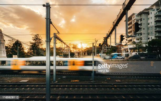 a train sped by at the gold dusk - rail transportation stock pictures, royalty-free photos & images
