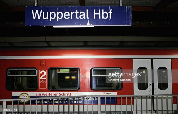 A train stands at the railwaystation in Wuppertal The Deutsche Bahn cancelled all trains because of the storm Meteorologists issued warnings because...