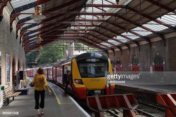 A train stands at Windsor and Eton Riverside station as preparations continue ahead of the wedding of Prince Harry and his fiance US actress Meghan...