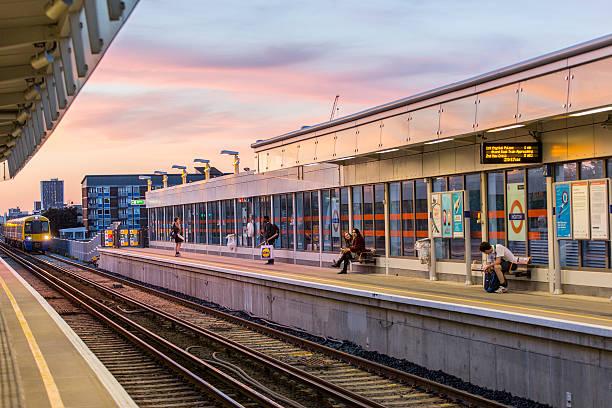 Train station at sunset, City of London, UK
