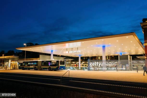 Train station entrance at night