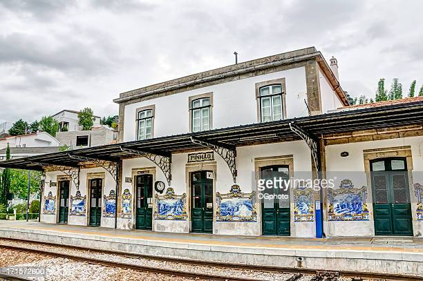 train station in the town of pinhao, portugal - douro valley stock photos and pictures