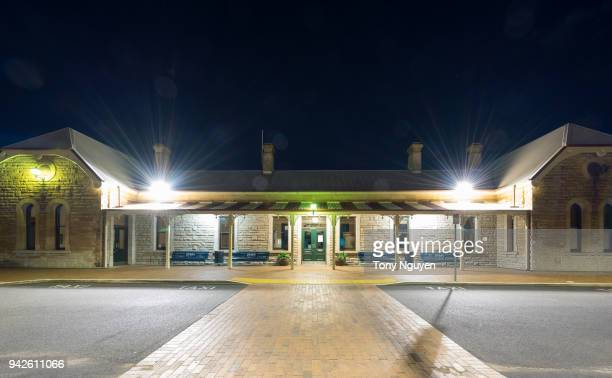 train station in west central, new south wales, australia by night. - dubbo australia stock pictures, royalty-free photos & images