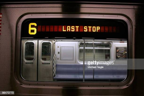 A train stops before midnight on December 19 2005 in the Brooklyn Bridge station of the New York City subway system in New York City The subway and...