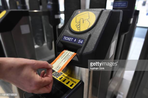 Train ticket is used at Stoke-on-Trent Train Station on May 20, 2021 in Stoke, England. The British government has created a state-owned body, Great...