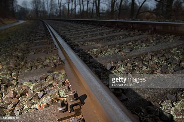 Train tracks are seen near the site of last week's train crash that killed 11 and injured approximately 85 on February 16 2016 near Bad Aibling...