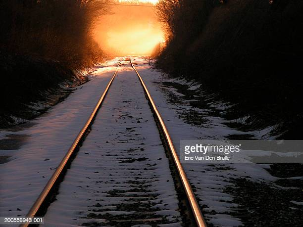 train tracks in snow - eric van den brulle stock pictures, royalty-free photos & images
