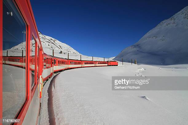 A train traveling through Oberalp Pass, Andermatt, Uri Canton, Switzerland