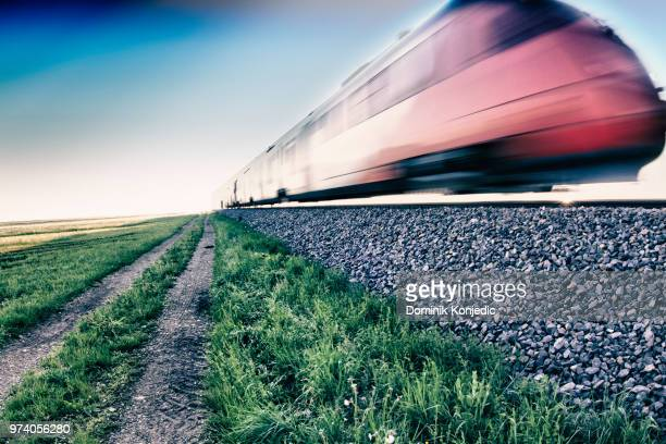train travelling at high speed - dominik konjedic stock pictures, royalty-free photos & images