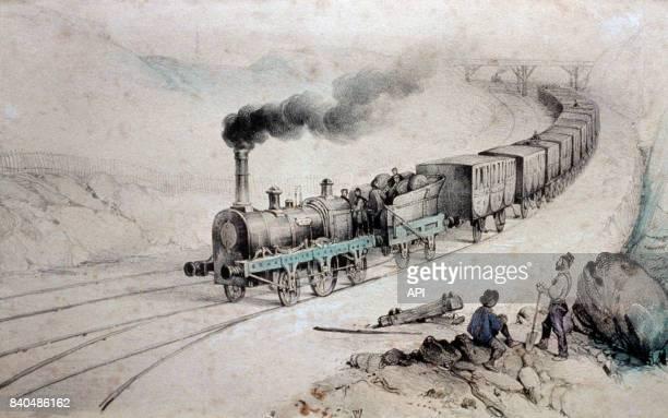Train à vapeur en 1825 en France