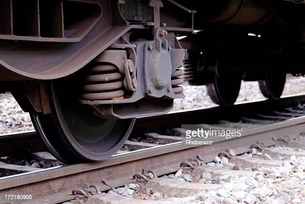 Train wheels arranged as a bogie on railway track