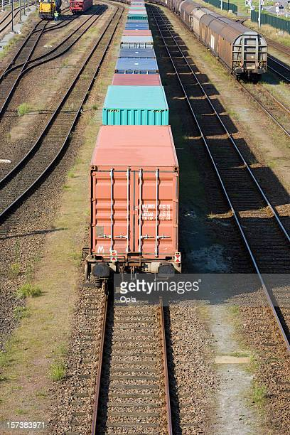 train with containers - cargo train stock photos and pictures
