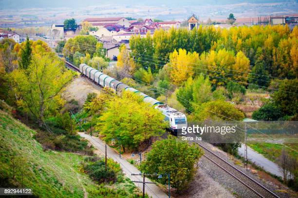 A train with wineries of Haro. Rioja. Spain