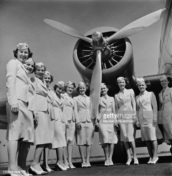 Trainee flight attendants graduate from the American Airlines Stewardess College in Chicago, USA, 1939.