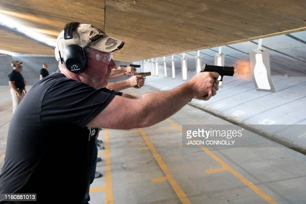 TOPSHOT Trainee John Coppin a dean of a K6 charter school in Colorado school District 20 fires his pistol during the FASTER Level 2 two day firearms...