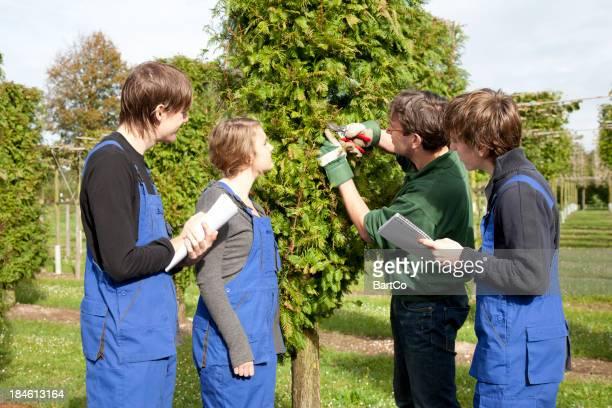 Trainee making notes. Tree Nursery.