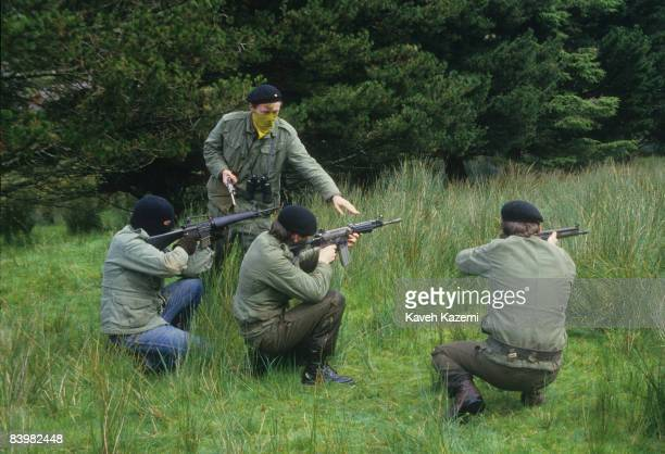 Trainee members of the Provisional Irish Republican Army practice guerilla warfare tactics in the countryside outside the town of Donegal in the...