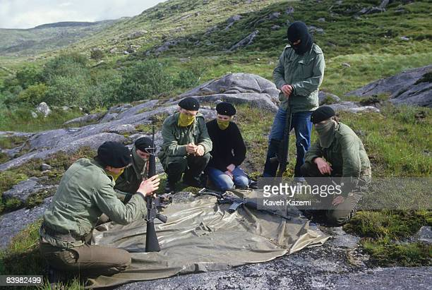 Trainee members of the Provisional Irish Republican Army undergo weapons training at a secret location in the countryside outside the town of Donegal...