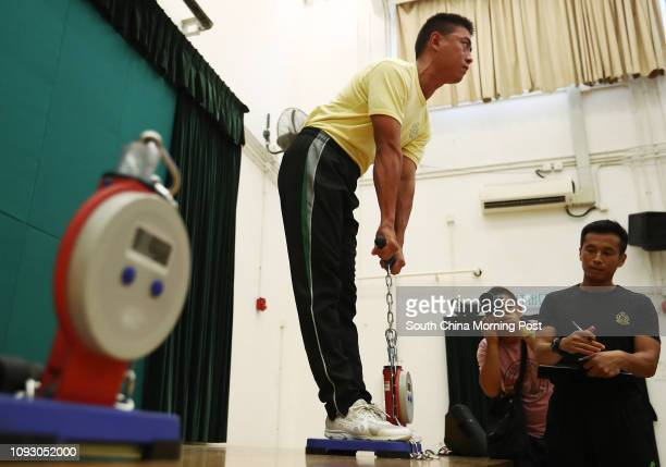trainee of Customs and Excise demonstrates Physical Fitness Test in Customs and Excise Training School in Tuen Mun 04OCT17 SCMP / Nora Tam