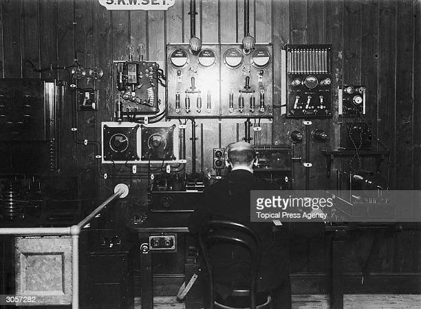 A trainee wireless telegraph operator at Marconi House London 18th March 1913 The 5 kilowatt apparatus is similar to that used on oceangoing liners