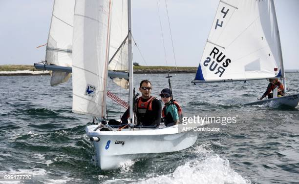 Trainees of the Les Glenans sailing school with a monitor sail on June 13 2017 in Les Glenans Fouesnant western France Seventy years old and always...