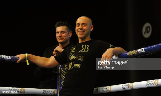 Trainer Adam Booth looks on during Anthony Joshua And Joseph Parker Media Workouts at St David's Hall on March 28 2018 in Cardiff Wales
