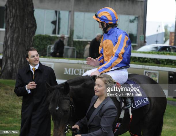 Trainer Aidan O'Brien and jockey Johnny Murtagh after riding Lillie Langtry to victory in the Coolmore Fusaichi Pegasus Matron Stakes during the...