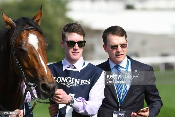 Trainer Aidan O'Brien poses with Highland Reel after winning Race 4 The Longines Hong Kong Vase during Longines Hong Kong International Race Day at...