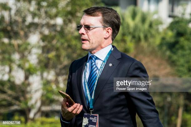 Trainer Aidan Patrick O'Brien of horse Highland Reel celebrates after winning the Longines Hong Kong Vase during the Longines Hong Kong International...