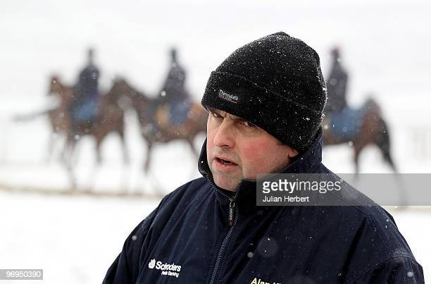 Trainer Alan King with his some of his horses due to run at The Cheltenham National Hunt at an open day day at his Barbury Castle Stables prior on...